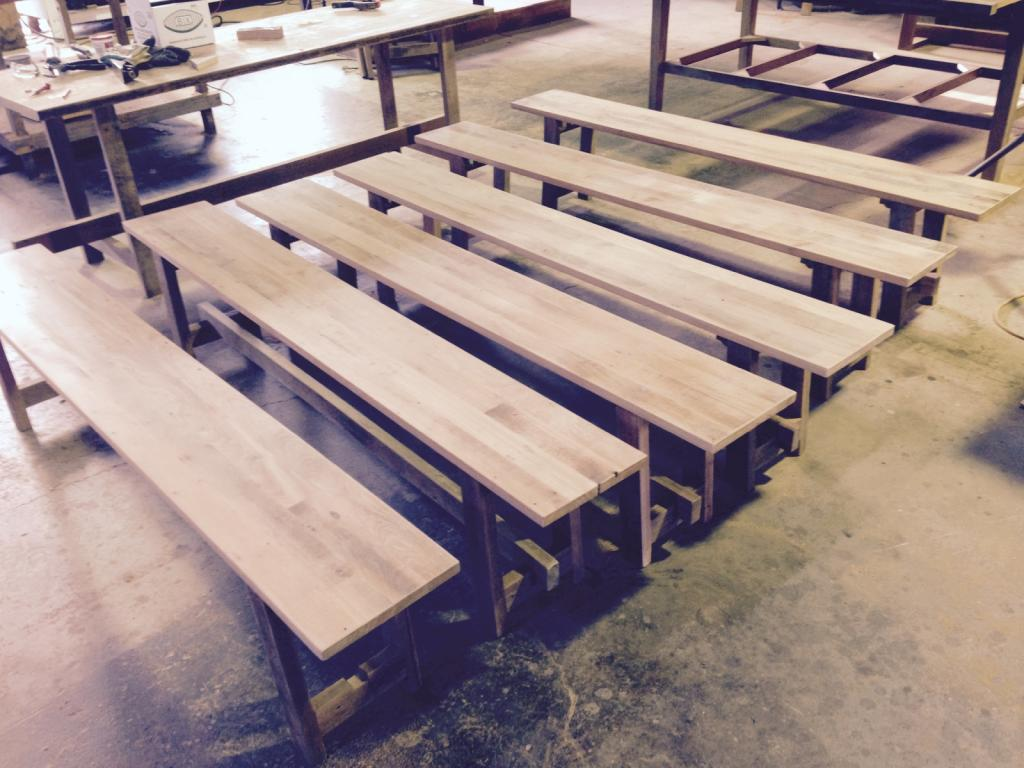 recycled wooden furniture. Recycled Timber Bench Seats With Folding Legs. Wooden Furniture
